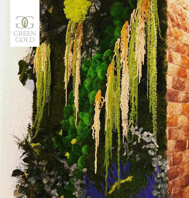 Стена из стабилизированных растений в частной квартире в зоне гостиной